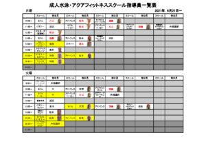 6月21日~成人水泳・アクアフィットネススクール指導員一覧表のサムネイル