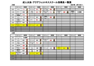 コピー2021.2月12日~成人水泳・アクアフィットネススクール指導員一覧表臨時のサムネイル