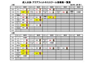 9月1日~成人水泳・アクアフィットネススクール指導員一覧表のサムネイル